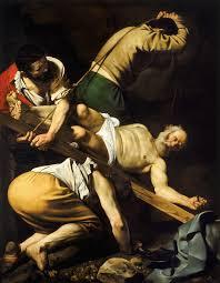 """Caravaggio """"la crocifissione di san Pietro"""" olio su tela - 1600 ca - Roma - S. Maria del Popolo"""