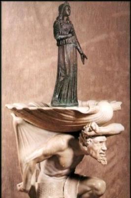 """Riccardo Granzotto """"Acquasantiera in marmo con statuetta in bronzo"""""""