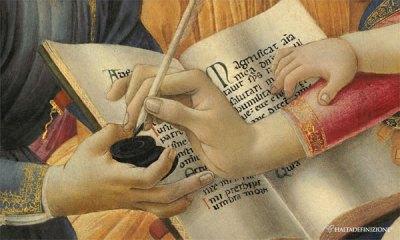 """Ne """"La Madonna del Magnificat"""" di Botticelli (part.) Maria scrive di suo pugno la Preghiera."""