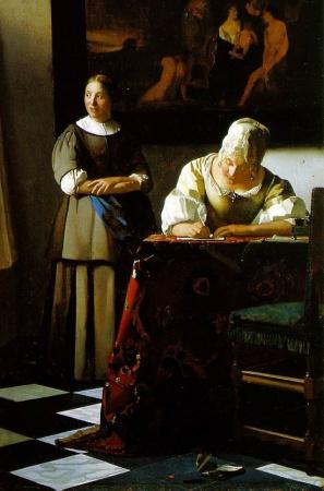 """Jan Vermeer """"Signora che scrive una lettera con domestica"""" (1670 ca.) Dublino"""