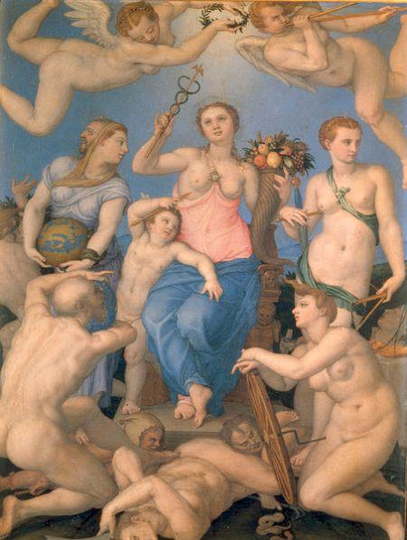 """Agnolo Bronzino """"Allegoria della felicità"""" 1564 - agli Uffizi -"""