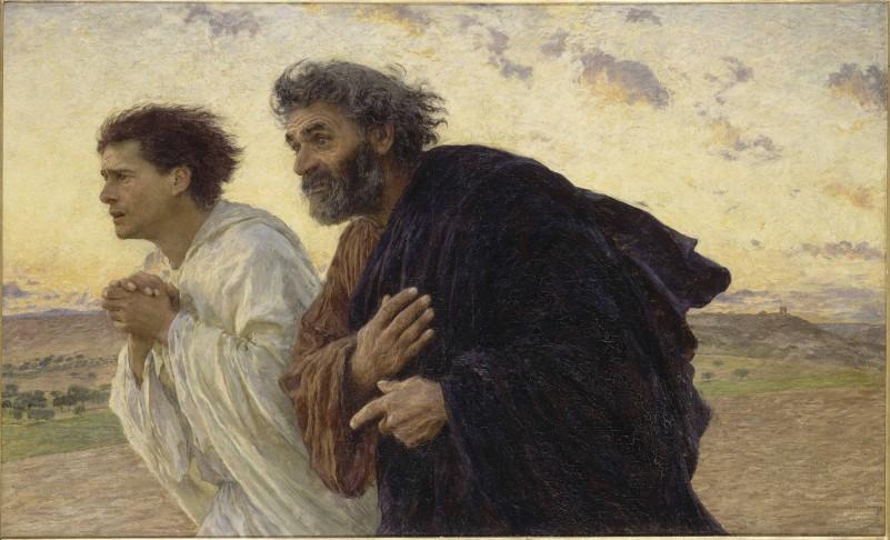 """Eugène Burnand """"I discepoli Pietro e Giovanni accorrono al sepolcro la mattina della Resurrezione"""" 1898 Museo d'Orsay - Parigi"""