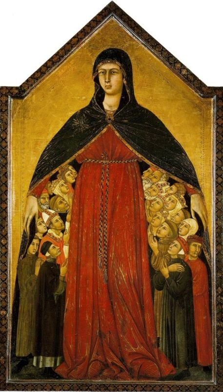 del manto della Madonna della Misericordia di Simone Martini e Filippo Lippi (1308-1310) conservata nella Pinacoteca di Siena