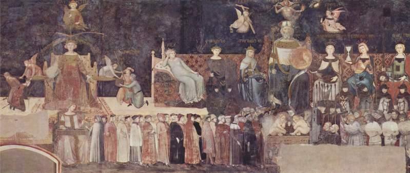 """Ambrogio Lorenzetti """"Allegoria del Buon Governo"""". 1338/9 Palazzo Pubblico - Siena"""