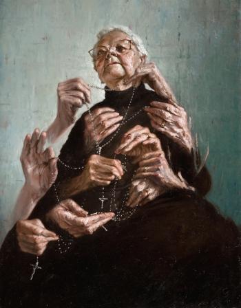 """Giovanni Gasparro """"La preghiera della nonna vedova"""" - 2009 - Collezione privata"""